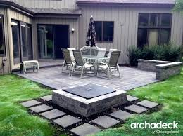 Belgard Fire Pit Patio With Square Fire Pit By Suburb Patio Builder