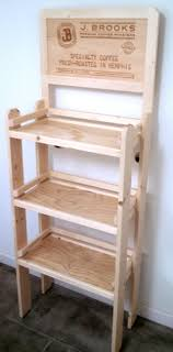 Wooden Ladder Display Stand rustic wood coffee display logo branded shelf shelving unit custom 26