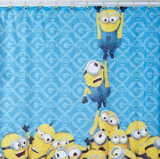 cool shower curtains for kids. Contemporary Shower Hanging Minion Kids Shower Curtains And Blue Background To Cool For C