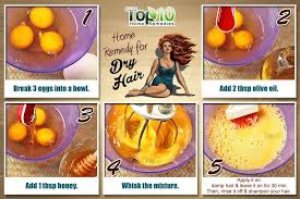 eggs are also very helpful for dry and damaged hair a good source of protein and lecithin eggs help strengthen and repair damaged and lifeless hair by