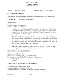 How To Write A Resume Job Description Senior Cashier Job Description Duties Resume Template List 59