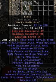 beast runeword beast berserker axe 285 ed 40 str perfect diablo 2 items