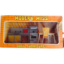 Dollhouse Kitchen Furniture Vintage 1960s Modern Miss Doll Dollhouse Kitchen Furniture In