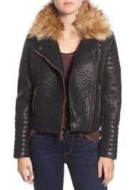 marc new york by andrew marc vanessa faux leather moto jacket with removable faux