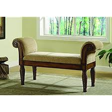 Amazing Coaster Transitional Brown Upholstered Accent Bench With Rolled Arms