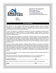 Sample Template Roof Certification Form Template Deaoscura Com