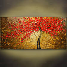 unframed panel wall art palette knife hand painted red tree flower oil painting on canvas wall pictures painting for living room in painting calligraphy