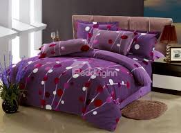 purple polka dot pattern 4 piece cotton duvet cover sets