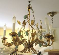 rare vintage gold gilt tole chandelier italy turquoise vg cond hollywood regency