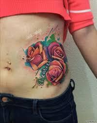 три розы и надпись тату сбоку тела у девушки добавлено Slava Jangle