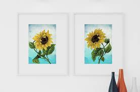 sunflower print set of two art botanical print