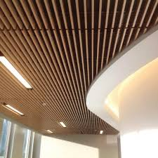 Wood ceiling lighting Suspended Hallway With Dark Wood Ceiling Decoustics Linear Wood Grille Decoustics