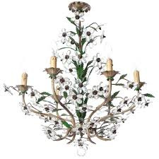 1950s six light italian crystal and brass chandelier attributed to maison baguès