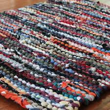 autumn t shirt rag rug utility upcycled orange red gold tan blac
