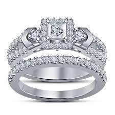 exclusive jewelry design 3d cad model of wedding bridal ring set 3d print 151637