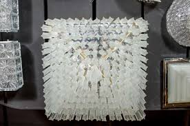 mid century modernist crystal flush mount chandelier by camer in excellent condition for in
