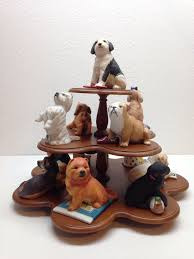 Wooden Display Stands For Figurines 100 The Franklin Mint Ceramic World of Puppies Lot of 100 w Wood 15