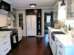 kitchens with white cabinets and black appliances. Black And White Cabinets Kitchen 2 Counter Subway Tile . Kitchens With Appliances