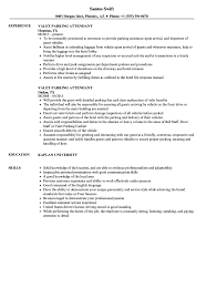 Valet Parking Resume Valet Parking Attendant Resume Samples Velvet Jobs 1