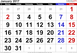 Calendar January 2017 UK, Bank Holidays, Excel/PDF/Word Templates