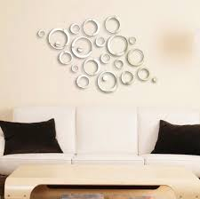diy office wall decor. Wall Decor: Shining Circles Mirror Fashion Modern Design Silver Mural Art Home Office Sticker Diy Decor