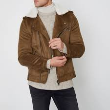 river island men s coats jackets tan faux suede borg biker jacket 303722