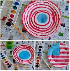 painting watercolor paper plates with red white and blue