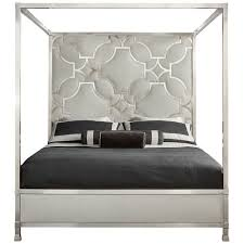 Bernhardt Domaine Blanc King Upholstered Metal Canopy Bed