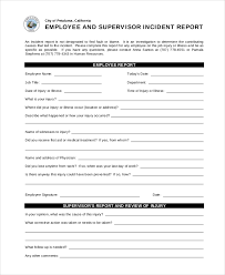 Incident Reporting Template Incident Report Employee And Supervisor Incident Report Free 22