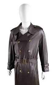 black burberry men s brown leather vintage belted trench coat 1960s for