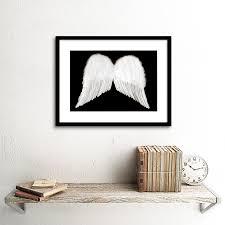 white angel wings cherub black black frame framed