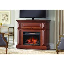 mantel console infrared electric fireplace in medium cherry