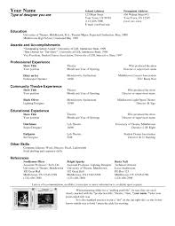 Theatre Resume Outline New Simple Resume Format Free In Ms Word
