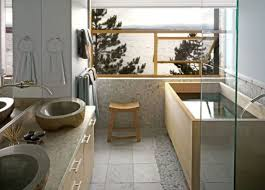 light Japanese bathroom with stone sinks, a wooden bathtub, light tiles and  stone