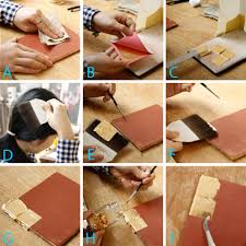 The gilding process: (A) burnishing the bole with a linen cloth; (