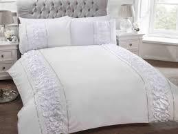 white luxury bedding set with diamante stripe frill duvet cover pillow cases