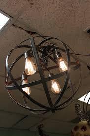 industrial sphere chandelier metal strap globe hanging light