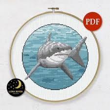 Great White Shark Counted Cross Stitch Pdf Pattern Instant Download Needlepoint Decoration Stitching Printable Digital Chart Embroidery Fish