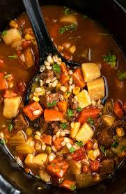 slow cooker beef barley soup one pot