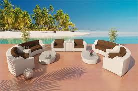 Savannah Resort Set 4 in White Viro Wicker and Earth Fabric