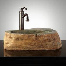 image of natural stone vessel bathroom sinks
