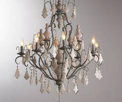 painted crystal wood finial chandelier painted french