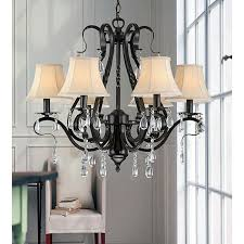 black iron 6 light crystal chandelier black crystal chandelier lighting