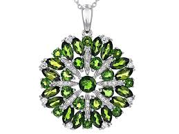 green chrome diopside sterling silver pendant with chain 6 61ctw docx746 jtv com