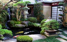 japanese water garden design with water feature