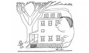 james thurber lost most of his eyesight to a tragic childhood a thurber cartoon of a house that is also an unfriendly man