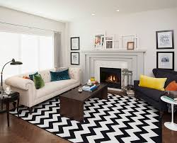 view in gallery transitional living room with a chevron pattern rug