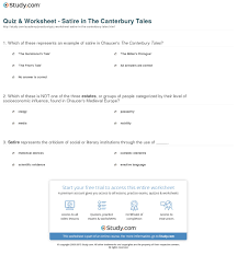 canterbury tales worksheets rringband quiz worksheet satire in the canterbury tales study com