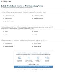 canterbury tales worksheets rringband quiz worksheet satire in the canterbury tales study com