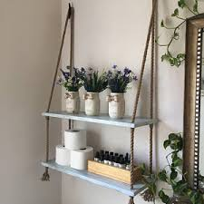 small bathroom shelves. wood and rope hanging shelves - bathroom shelves- small storage entry way